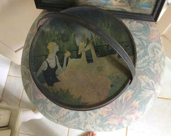 Vintage Tin Box with Handle and Deco Lady with Gazells, Large Round Tin