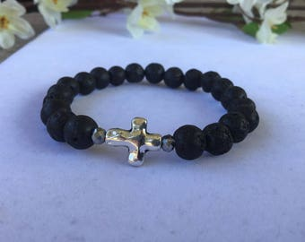 Lava Stone Diffuser Bracelet with Cross