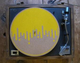 Screen-printed Cork Vinyl Slipmat: Drip print by James Treadaway