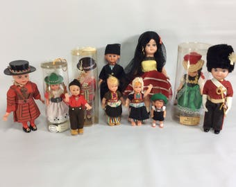 Dolls Vintage Sleepy Eyes Mixed Plastic Celluloid Beefeater Spanish World 11 Various Sized Small Dolls Baby  Rubber Plastic Doll Set Vintage