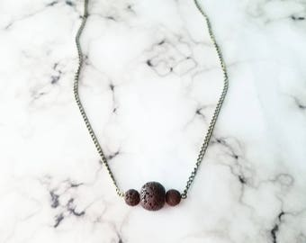 Brown Lava Stone Necklace