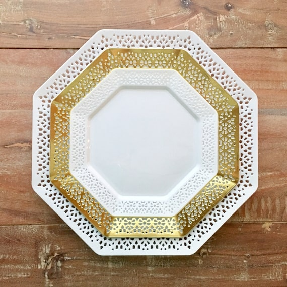 Like this item? & Rustic Mod Eyelet Collection. Wedding Plates. Disposable Gold