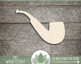 Pipe Wood Cut Shape, Unfinished Wood Pipe Laser Cut Shape, DIY Craft Supply, Many Size Options