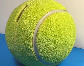 TENNIS BALL BANK Character collectibles new Game Set Match sports memorabilia us open lime green money holder original box mailer