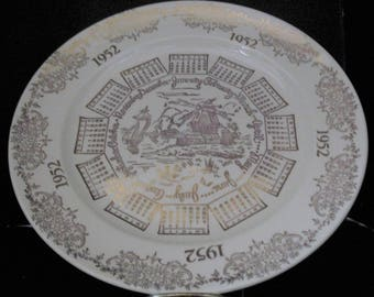 1952 Calendar Collector Plate Gold with Dutch Windmill
