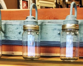 Mason Jar Custom 3 Light Fixture on Cedar- One of a kind!