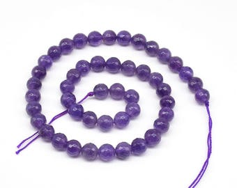 Amethyst beads, 8mm round faceted, loose amethyst gemstone wholesale A grade natural stone beads necklace making, ladies jewelry, AMT1040