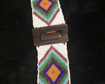 White beaded wide waist belt