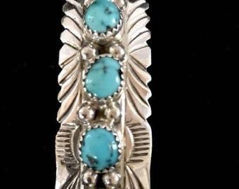Native American Sterling Silver Kingman Turquoise Bracelet Handmade Old Pawn