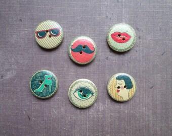 20 buttons round wood pattern Pop fashion women accessory 2 cm