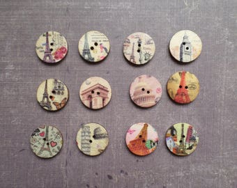 20 buttons round wood pattern Monument world city 2 cm