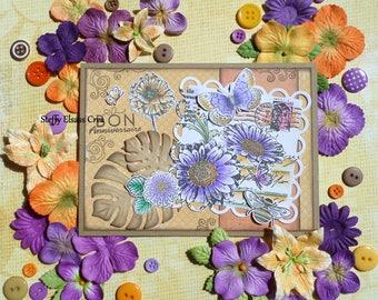 Purple Orange Butterflies flowers birthday card