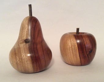 Turned wooden apple and pear, handmade from salvaged camphor laurel timber