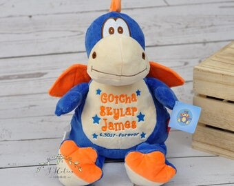 Personalized Stuffed Animal-Personalized Birth Dragon Cubby-Personalized Stuffed Dragon-Birth Stats Bunny-Birth Annoucement Stuffed Animal