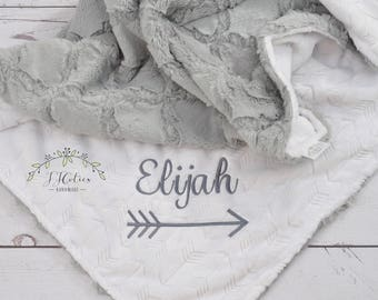 Personalized Baby blanket-Personalized White gray Minky crib blanket-Arrow baby blanket-Baby blanket Girl-Personalized Baby Girl Boy Blanket