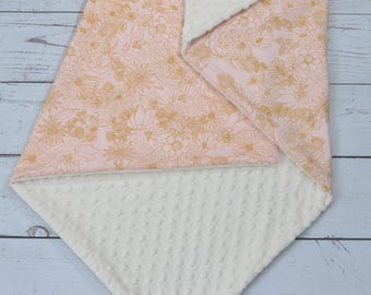 Personalized baby Girl blanket Girl-Personalized Gold Pink Flora Minky Baby Blanket-Gold Pink Baby Minky Blanket-Gold Pink Fitted Crib Sheet