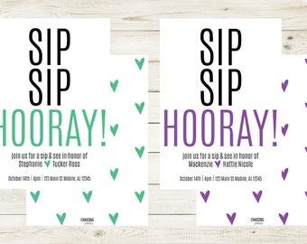 SIP SIP HOORAY | Sip Sip Hooray Invitation | Sip + See New Baby Invitation | Meet & Green New Baby Invitation | Meet + Greet New Baby Invite