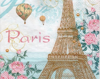 Paper Napkins for Decoupage Toujours Paris Eiffel Tower Balloons Floral (2x Napkins) - ideal for Decoupage, Collage, Mixed Media, Crafts