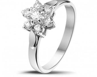 14k White Gold Halo Diamond Round Cut Diamond Engagement Ring