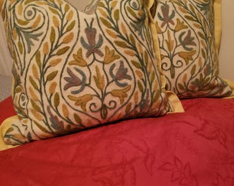 Pair of Vintage Crewel Embroidery Pillows