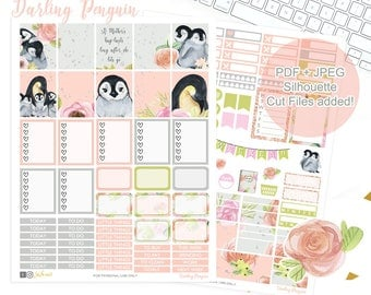 Penguin Planner Stickers, Printable weekly kit, Animal stickers, use with Erin Condren, ECLP, floral, fall printable, glitter, kawaii