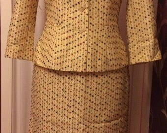 Ladies || Vintage || Yellow || Two Piece || Blazer || Skirt || Suit