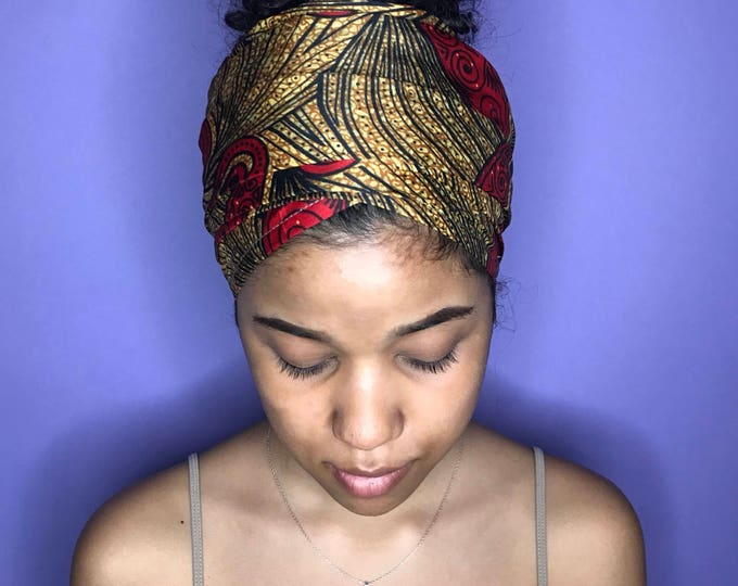 Gold and Red Kuchena Half Head Wrap