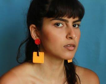 Bauhaus inspired earrings (yellow)