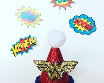 WONDERWOMAN Birthday - Wonderwoman party hat - mini party hat - WONDERWOMAN birthday hat - Superhero