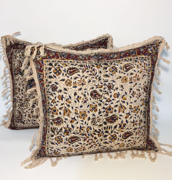Set of two hand block printed tapestry pillows | flowers Cushions | natural cotton pillows With Tassels