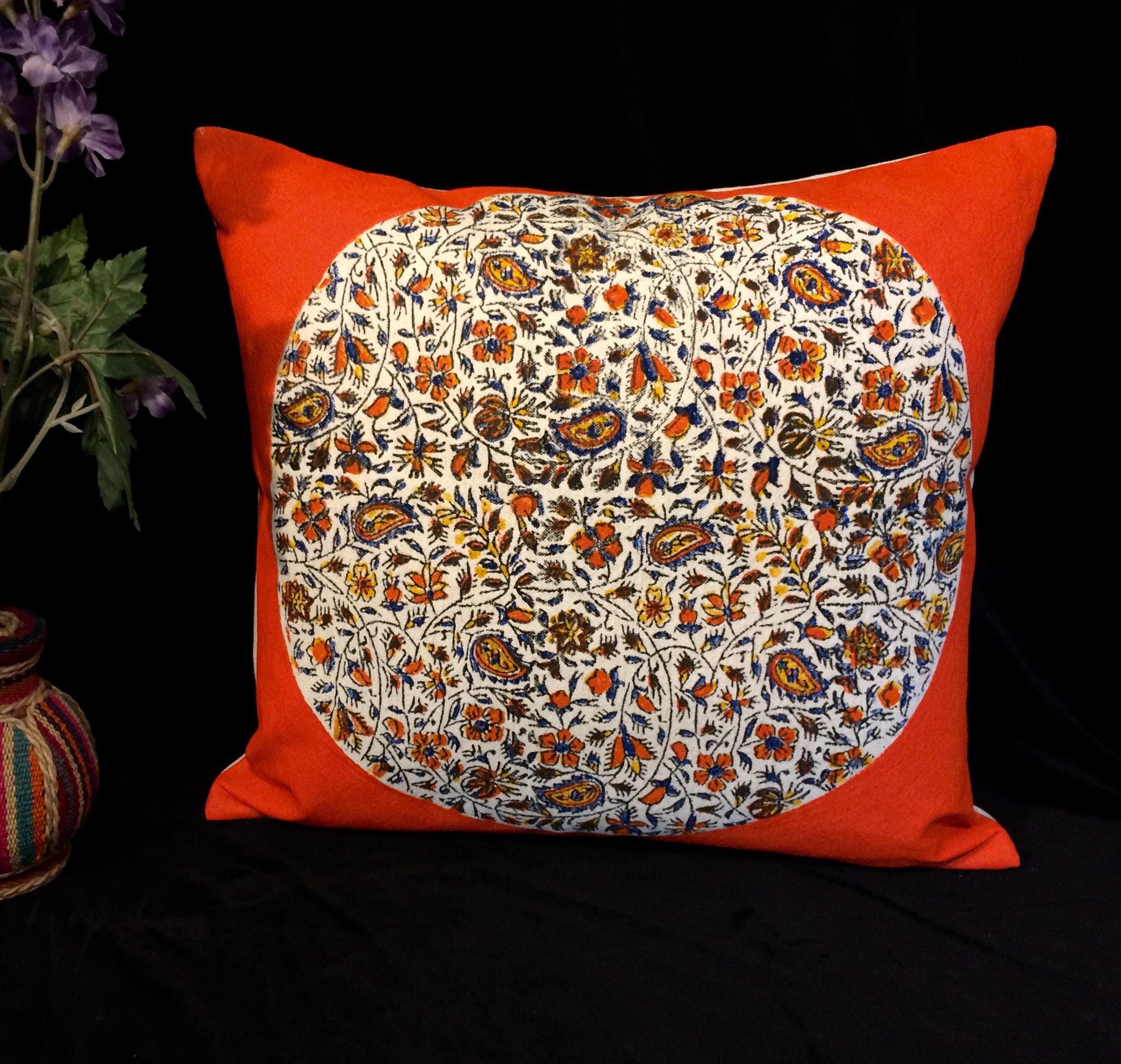 Modern Pillow Case Designs : Modern orange pillow case dresses , washed linen, flower pillows,linen throw, orange flowers ...