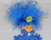 "1.5"" Russ Troll Doll, Blue Knit Dress, Blue Icelandic Hair, Panties, Headband"