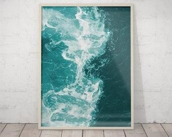 SALE Teal Blue Water Beach Decor, Ocean Wave Art Print, Printable Art, Turquoise Blue Aqua Art, Water Instant Download Ocean Water Wall Art