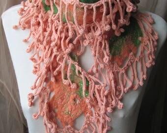 Felted crocheted scarf,Unique scarf,Fancy scarf,Original wrap, Boho chic scarf