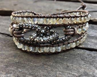 Beaded Chan Luu style leather wrap bracelet/Chan Luu Style beaded wrap with Pave Chain/Labadorite beaded Boho Wrap/Triple Leather Wrap Boho