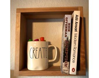 "Square Shelf - 10"" X 10"" - MidCentury Modern Shelf - Hanging Shelf - Floating Shelf - Shadow Box - Geometric Shelf"