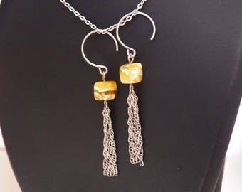 Amber cube earrings, sterling silver chain tassel earrings, long statement earrings, natural yellow Baltic amber trendy jewellery