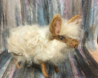 Needle felted angora basket bunny (Sarafina inspired)