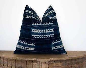 18x18 African Indigo Mudcloth Pillow Cover