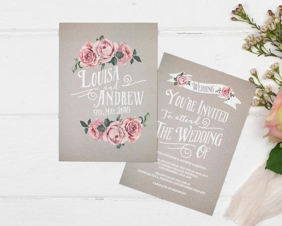 Grey Rustic Rose Wedding Invitation Set Sample