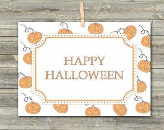 Pumpkin Halloween Card, DIGITAL CARD, Happy Halloween Cards, Pumpkin Download Card, Happy Halloween Celebration, Pumpkin Print
