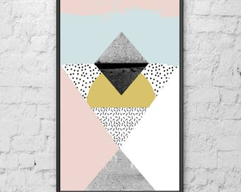 SCANDI GEOMETRIC  abstract art print, monochrome mountains, scandinavian art hygge home home posters pictures