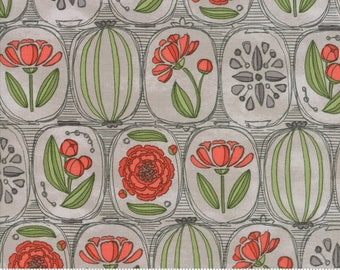 Pebble Gray Floral Cameos from the Blushing Peonies collection by Robin Pickens for Moda Fabrics, Choose the Cut, 48611 11, Peony