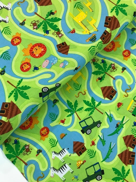 Jungle animal map on green from the jungle jam collection for Novelty children s fabric