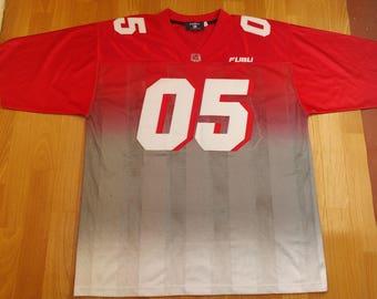 FUBU jersey, red vintage hip hop t-shirt of 90s hip-hop clothing, 1990s hip hop shirt, OG, gangsta rap, size L Large
