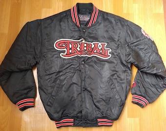 TRIBAL Gear jacket, black vintage hip hop coat, 90s hip-hop clothing, gangsta rap, lowrider hoodie LA, Los Angeles, chicano, og size S Small