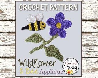 021 - Wildflower & Bee Applique Crochet PATTERN, Instant Download