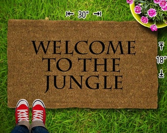 Welcome To The Jungle Coir Doormat - 18x30 - Welcome Mat - House Warming - Mud Room - Gift - Custom