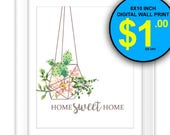 Home Sweet Home Cactus Wall Art Print, Instant Download, 8x10 Inch, Digital Print