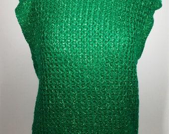 Vintage Women's 1980s Russ Emerald Green Sweater Vest Size Medium